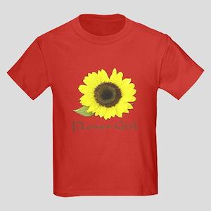 Sunflower Flower Girl Kids Dark T-Shirt