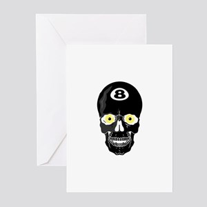 Billiards Pool Skull Greeting Cards (Pk of 10)
