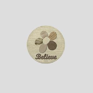 Believe Inspirational Tan Fabric Colla Mini Button