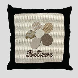 Believe Inspirational Tan Fabric Coll Throw Pillow