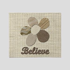 Believe Inspirational Tan Fabric Col Throw Blanket