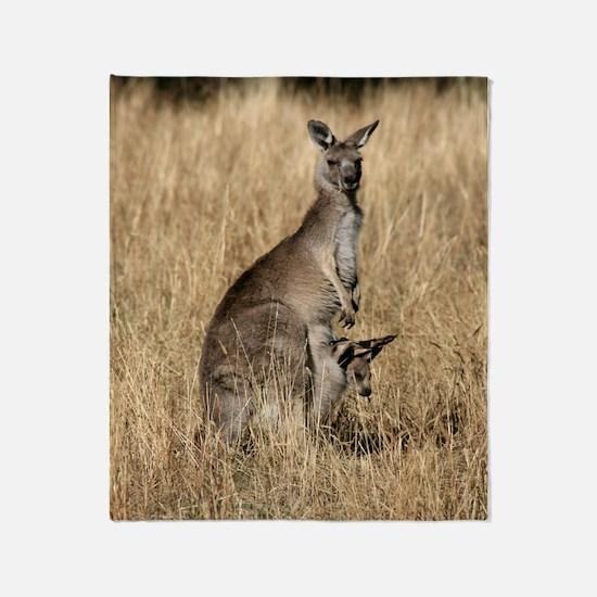 Kangaroos in Australian Bush Throw Blanket