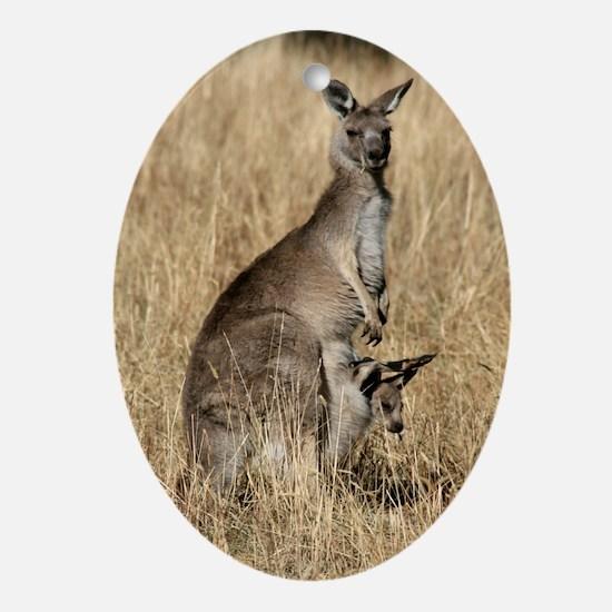 Kangaroos in Australian Bush Oval Ornament