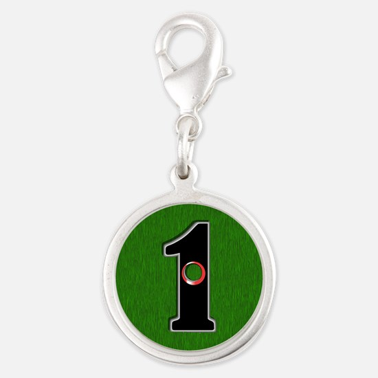 Lucky Golf Hole in One Silver Round Charm
