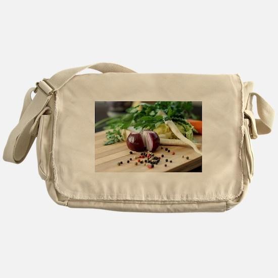 Cute Vegan grocery Messenger Bag
