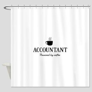 Accountant powered coffee Shower Curtain
