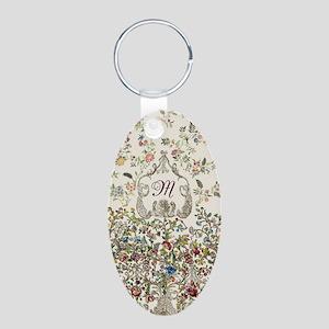 Customizable Rococo Monogra Aluminum Oval Keychain