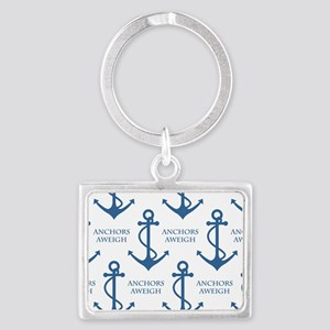 Anchors Away Nautical Pattern Landscape Keychain