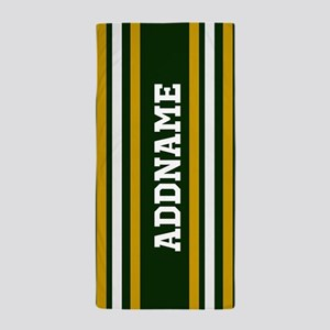 Green Yellow White Stripes Personalize Beach Towel