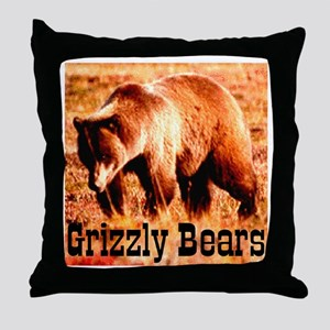 Grizzly Bears Throw Pillow