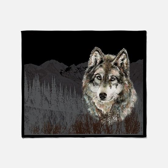 Wolf Mountain Watercolor Animal Nature Art Throw B