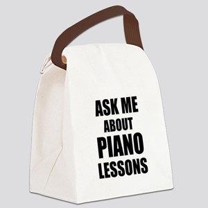 Ask me about Piano lessons Canvas Lunch Bag