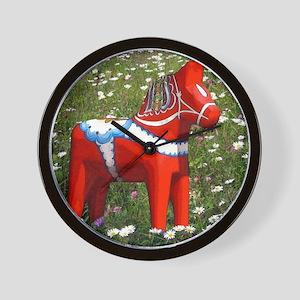 Dala Horse In Flowers Wall Clock
