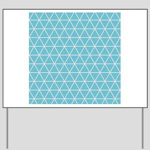 Aqua Blue Geometric Triangle Pattern Yard Sign
