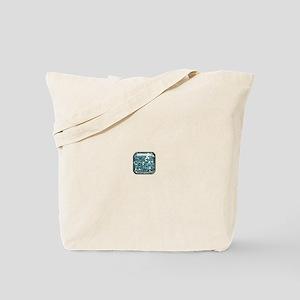 Aqua Blue Glitter Square Button Tote Bag