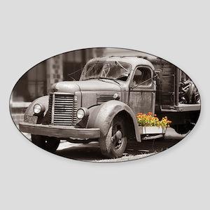 Vintage Old Truck Color Splash Sticker (Oval)