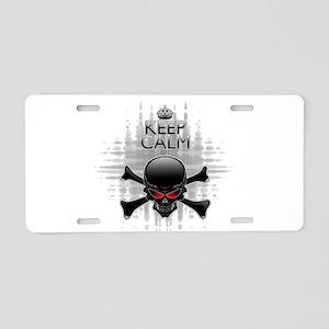 Keep Calm or Die! Black Skull Aluminum License Pla