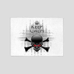 Keep Calm or Die! Black Skull 5'x7'Area Rug