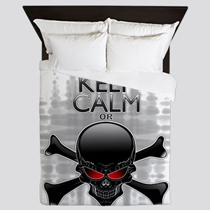 Keep Calm or Die! Black Skull Queen Duvet