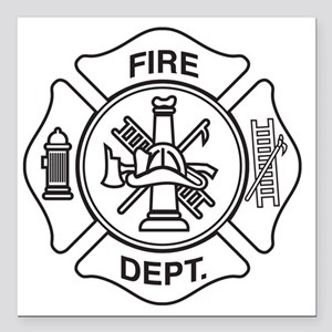 "Fire department symbol Square Car Magnet 3"" x 3"""