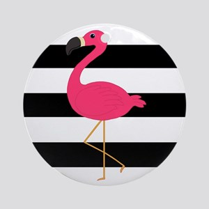 Pink Flamingo on Black and White Ornament (Round)
