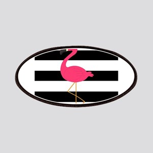 Pink Flamingo on Black and White Patches