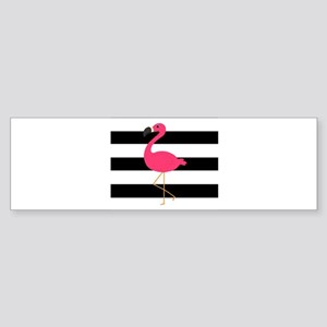 Pink Flamingo on Black and White Bumper Sticker