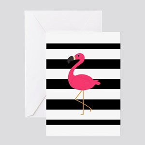 Pink Flamingo on Black and White Greeting Cards