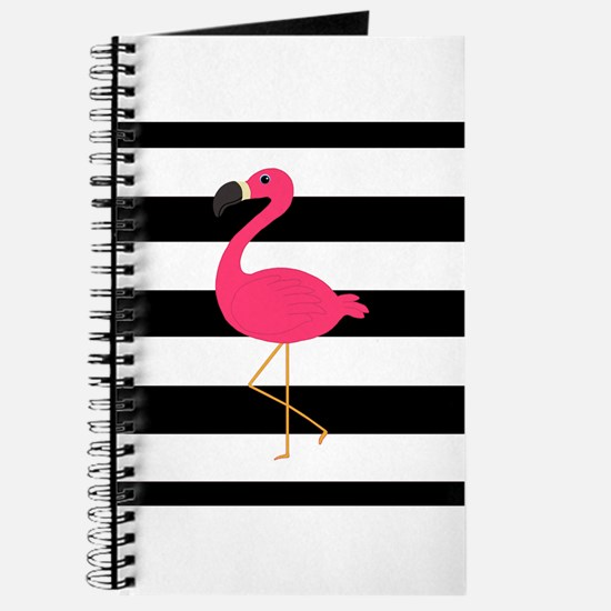 Pink Flamingo on Black and White Journal