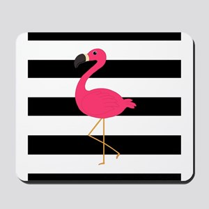 Pink Flamingo on Black and White Mousepad