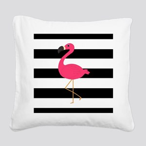 Pink Flamingo on Black and White Square Canvas Pil