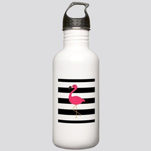 Pink Flamingo on Black and White Water Bottle