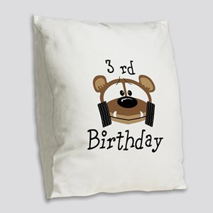 Personalize Birthday Buggy Bear Burlap Throw Pillo