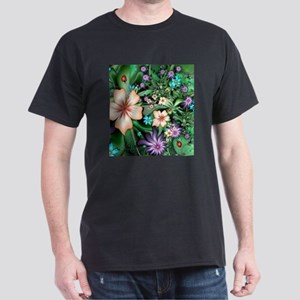 Fractal Garden with Hibiscus and Ladybugs T-Shirt