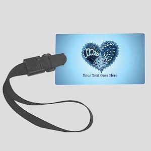 Decorative Heart Blue Customizab Large Luggage Tag