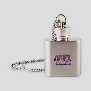 I Love Horse (Purple) Flask Necklace