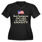 Real Immigrants Wmns Plus Sz V-Neck Dk Tee