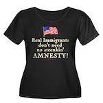 Real Immigrants Wmns Plus Sz Scoop Neck Dk T
