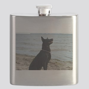 Black GSD at the Beach Flask