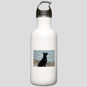Black GSD at the Beach Water Bottle