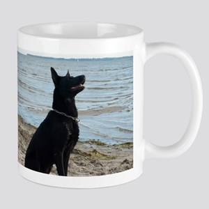 Black GSD at the Beach Mugs