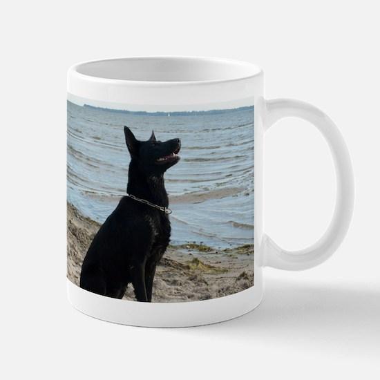 Black GSD at the Beach Mugs