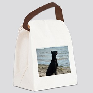 Black GSD at the Beach Canvas Lunch Bag