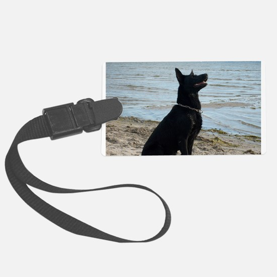 Black GSD at the Beach Luggage Tag