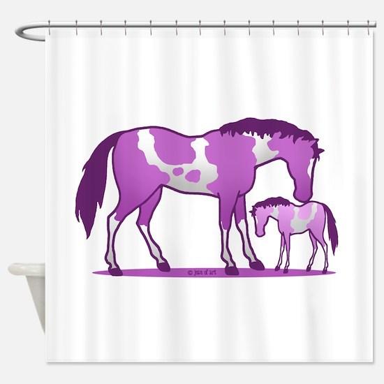 I Love Horse (purple) Shower Curtain
