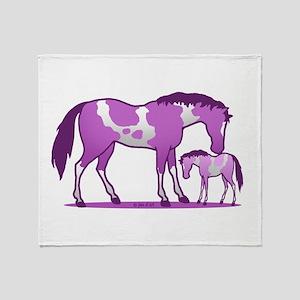I Love Horse (purple) Throw Blanket