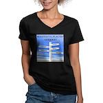 Germany Women's V-Neck Dark T-Shirt