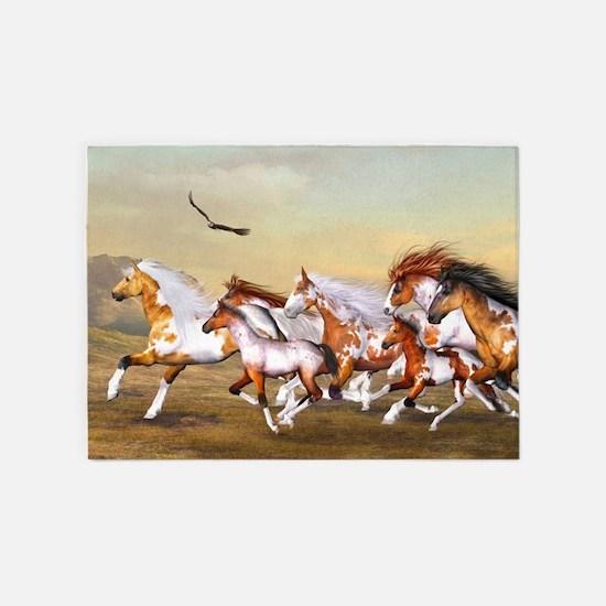 Wild Horses Herd 5 X7 Area Rug
