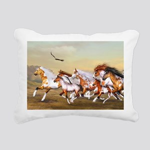 Wild Horses Herd Rectangular Canvas Pillow