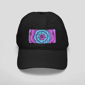 Flower Doodle Blue Purple Black Cap